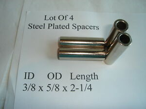 Lot Of 4 Steel Spacers 3/8 X 5/8 X 2/1/4 Plated Standoff Wheel Machinist Mower