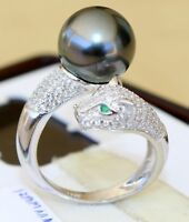 Hot Perfect Round AAA+10-11mm South Sea Black Pearl Leopard Ring 8
