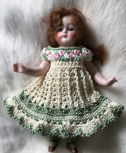 Crochet Dress for 6 - 7 Inch Mignonette, Kestner Or All Bisque Doll Cream/sage