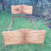 Vintage Small Double Modernist Art Deco Walnut Burr Bed Frame Antique