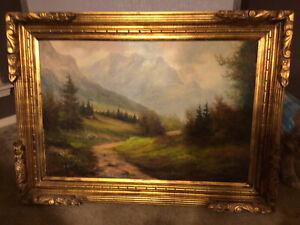 H. Stadler Large oil painting on canvas, Landscape, Signed, Gild Frame.