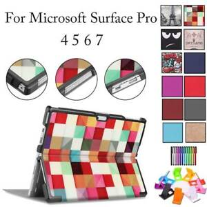 For Microsoft Surface Pro 4 5 6 7 Case Pattern Flip Fold Stand Shockproof Cover