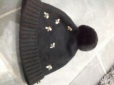 Ted Baker barlea Knit Pom Pom beanie Hat ,one size. Black bee