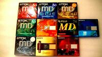 10 MD Minidiscs Lot: SONY, FUJI, TDK, Brand New, Blank