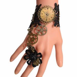 Gothic Victorian Watch Movement Wrist Cuff Steampunk Gear Bracelet With Ring