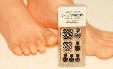 DASHING DIVA - Black Silver Scales INTO the BLUE Toe Nails Press on PEDICURE NEW
