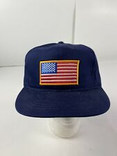 Vintage American Flag Patch Hat Blue Snapback Cap Made In USA
