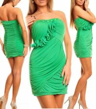 Miss Sexy Donna Bandeau Push Up Raff mini abito party dress Strass 34/36/38 VERDE