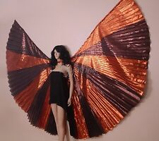 Unique Egyptian Belly Dance Brown & Copper Lame Isis Wings + Bag & Sticks