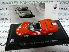MAS25 voiture 1/43 LEO models MASERATI collection TIPO 63 4 heures Pescara 1961
