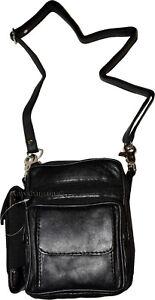 New Biker's Leather Black Bag w/Strap 5 Pockets Belt loop phone cell handbag NWT