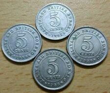 Malaya British Borneo 5 cents coin X4 pcs 1957H; 1958; 1958H [2pcs] #F34