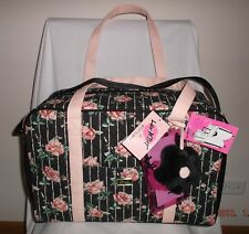 LUV BETSEY BETSEY JOHNSON BLACK WITH PINK ROSES WEEKENDER / DUFFEL / TOTE NWT