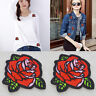 2pcs/Set  Red Rose Flower Embroidery Applique Cloth New Sew pon Iron on Patch