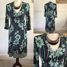 Monsoon Green Floral 3/4 Sleeved Dress Size 8