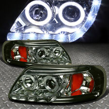 [HALO RINGS+LED DRL] FOR 1997-2003 FORD F150 SMOKED AMBER PROJECTOR HEADLIGHTS