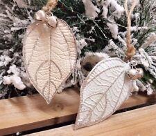 Set 2 Christmas Leaf Tree Decoration Sparkling Mint Ivory Hanging Glitter Leaves