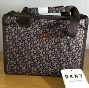 DKNY Dark Brown Monogram design Lunch Bag / Cool Bag, insulated,