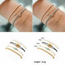 4pcs Crystal Beads Evil Eye Multilayer Bracelets Rope Bangles Women Jewelry Gift