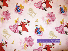 Disney Sleeping Beauty Princess Aurora Prince Owl Cotton Fabric BY THE HALF YARD