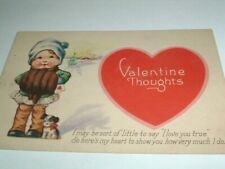 Vintage Valentine Post Card w Little Girl in Muff and Puppy C1920
