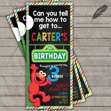 Sesame Street Ticket Birthday Party Invitations / elmo abby big bird PRINTED
