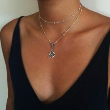 UK BOHO SUNFLOWER BEAD DOUBLE LAYER NECKLACE Silver Jewellery Gift Flower Floral