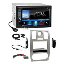 Kenwood DVD WebLink Waze 2 Din Silver Dash Kit Harness for 2005-07 Chrysler 300