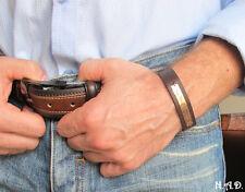 Engraved Mens Bracelet  Adjustable Leather Cuff Bracelet for Men. Hand Stamped