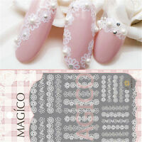 3D Nail Art Stickers Lace White Flower Pattern Manicure Decals Tips Decoration