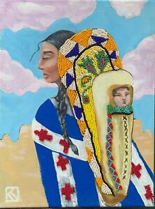 Mixed Media Acrylic & Beads Native American Woman and Child in Papoose Southwest