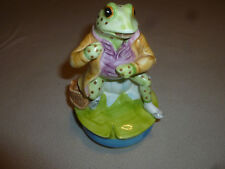 Vintage Schmid Beatrix Potter Mr Jeremy Fisher The Tale Of Music Box Frog 1977 >