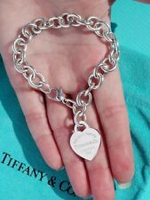 Tiffany & Co Return To Tiffany Heart Tag Charm Sterling Silver Bracelet 7.5 Inch