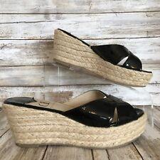 Kelsi Dagger Bianca 6M Slide Sandals Black Patent Leather Rope Wedge Heel