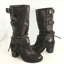 Vince Camuto Boots Skylas Brown Leather Heeled Women's 6 B Mid Calf