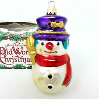Vintage Made in Germany Blown Glass Snowman Christmas Ornament Original Box 0357