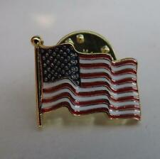 12 detailed wavy flag small American Flag lapel pins gold finish made in the USA
