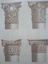 Jean BERAIN colonne base chapiteau GRAVURE décoration ADAMS MEUBLE XIXéme