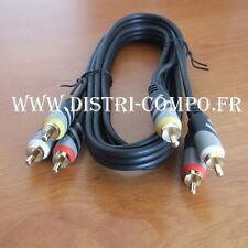 Cordon audio video analogique 3 RCA mâle vers 3 RCA mâle 1m50