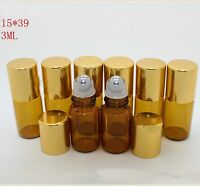 HOT Lot Small 3ML Empty Perfume Roll On Metal Roller  Ball Glass Bottle 10 PcsA