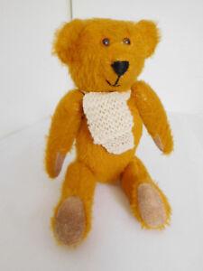 "Vintage 10"" Gold Mohair Smiling Bear w/ Felt Pads"