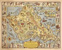Historical Pictorial Map Hawaiian Island of Oahu Hawaii Wall Art Poster Military