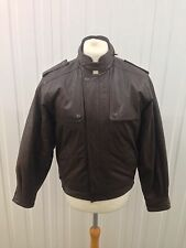 Mens Retro Leather Bomber Jacket - Medium - Brown - Great Condition