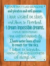 TIN SIGN Disney's Dreamed Impossible Dreams Quote Ride Art Poster