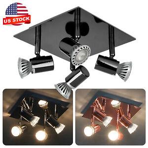 Large Modern Black Chrome 4 Way GU10 Kitchen Ceiling Spot Light Spotlight Lights