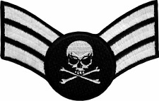 43037 Air Force Sergeant Insignia Skull & Crossbones Embroidered Iron On Patch