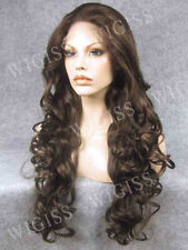 Classic Brown Lace Front Long Wavy Wig Hair Stylish Lady Wig
