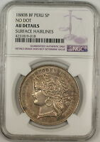 1880-B BF No Dot Peru 5 Pesetas Silver Coin NGC AU Details Surface Hairlines