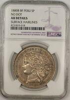1880-B BF No Dot Peru 5 Pesetas Silver Coin NGC AU Details Surface Hairlines