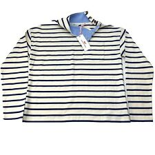 NWT Vineyard Vines Women Small Pullover White Blue Striped Mock Neck Buttons $88